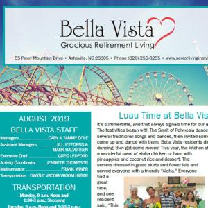 August BellaVista Gracious Retirement Living newsletter