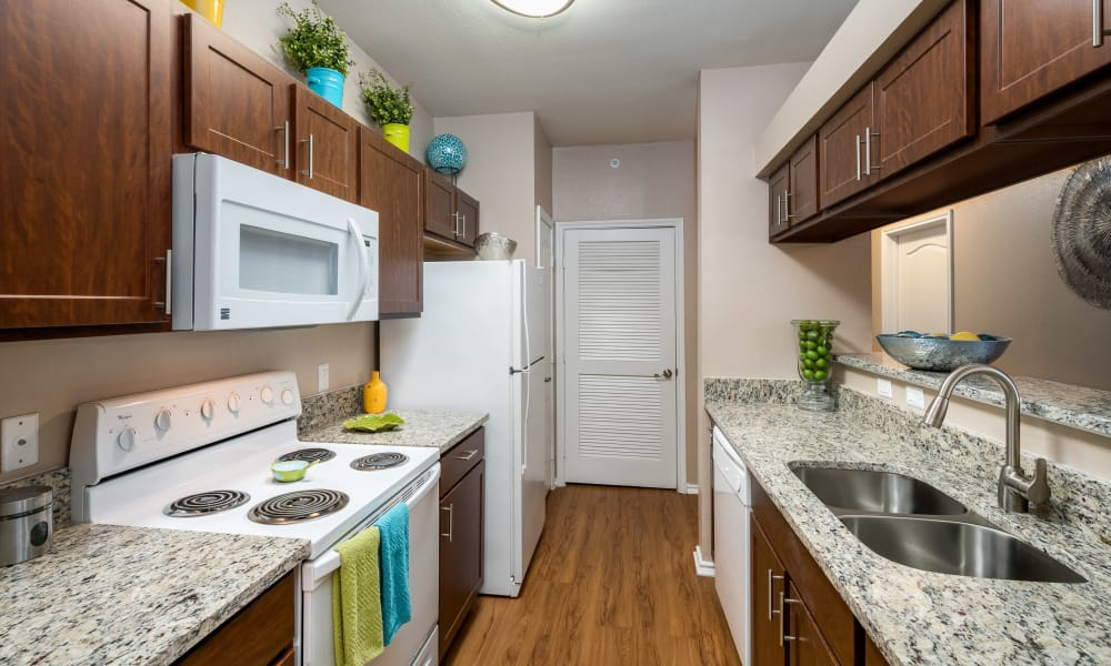 Kitchen with granite countertops at The Springs of Indian Creek