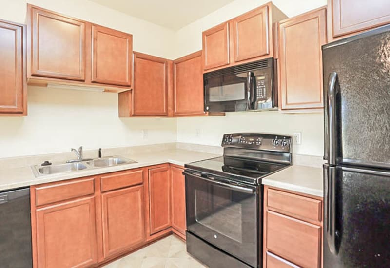 Kitchen with upgraded cabinets at Johnston Heights in Johnston, Iowa