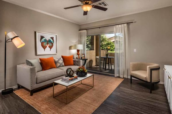 Living room at Colonnade at Sycamore Highlands in Riverside, California