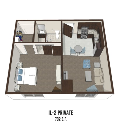 Independent living private room 2 is 732 square feet at Gahanna in Columbus, Ohio.