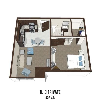 Independent living private room 3 is 657 square feet at Pickerington in Pickerington, Ohio.