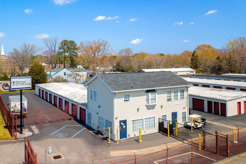 Aerial view of Prime Storage in Newport News, Virginia