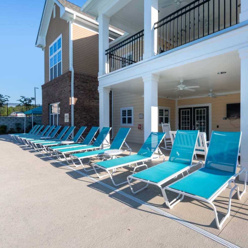 Lounge area right next to the pool at The Reserve at White Oak in Garner, North Carolina