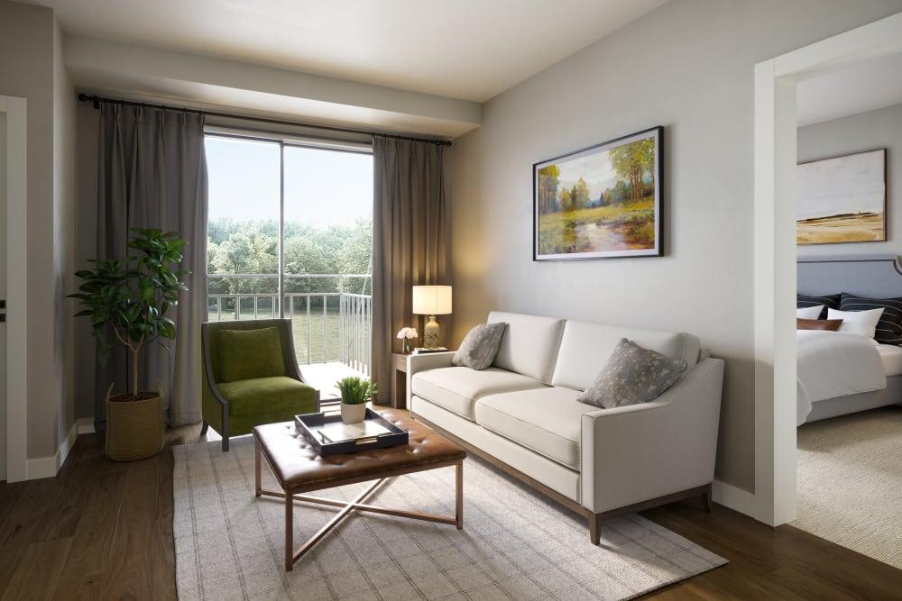Furnished living room in a senior apartment at Amira Minnetonka in Minnetonka, Minnesota