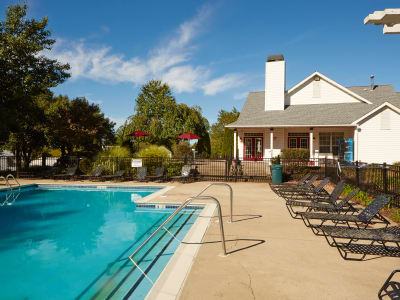 Sparkling swimming pool and sundeck at Middletown Brooke Apartment Homes