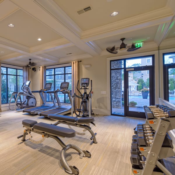 Fitness center for residents at The Heights at Old Peachtree in Suwanee, Georgia