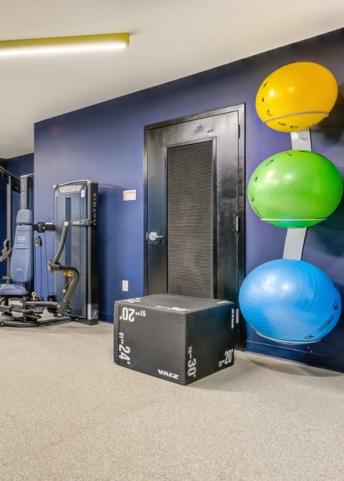 Fitness center at RISE on Chauncey in West Lafayette, Indiana