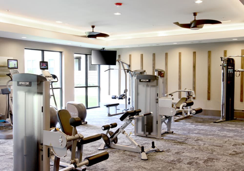 Fitness center at Axis at The Rim in San Antonio, Texas