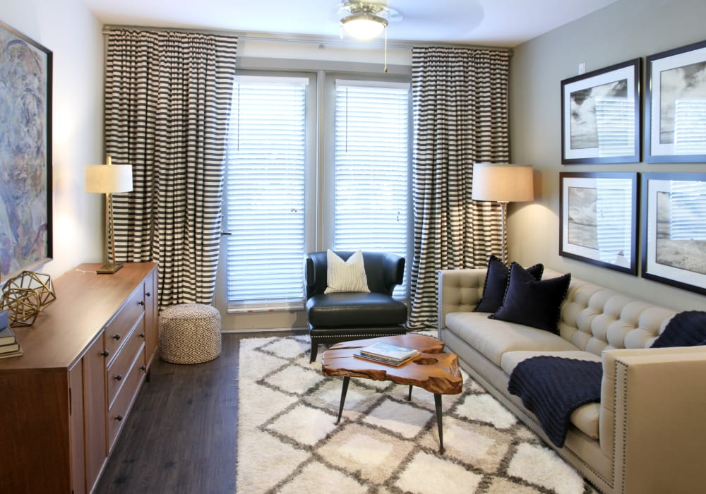 Model living room at Axis at The Rim in San Antonio, Texas