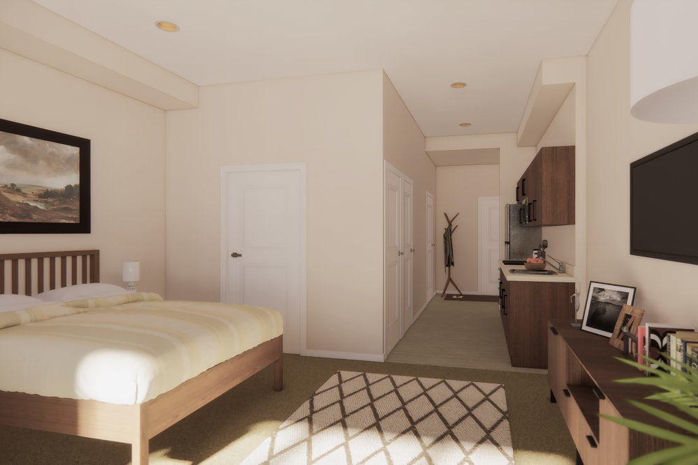 A rendering of a studio apartment at Merrill Gardens at West Covina in West Covina, California.