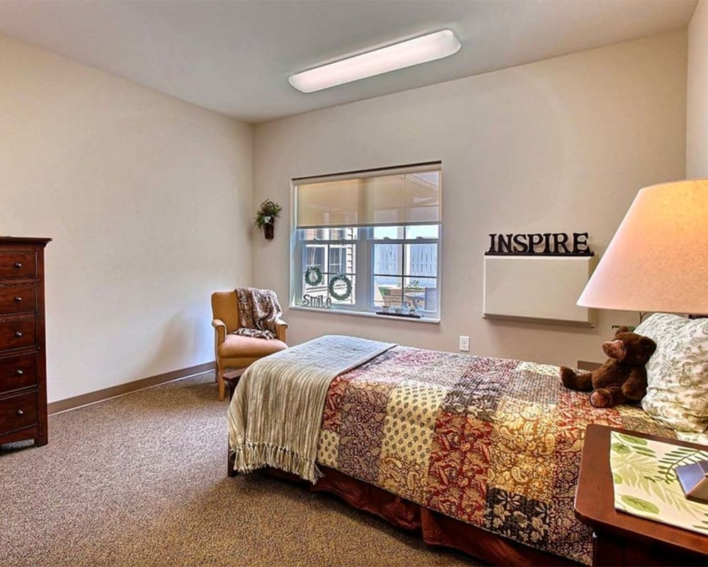 Cozy memory care studio at Milestone Senior Living in Hillsboro, Wisconsin.