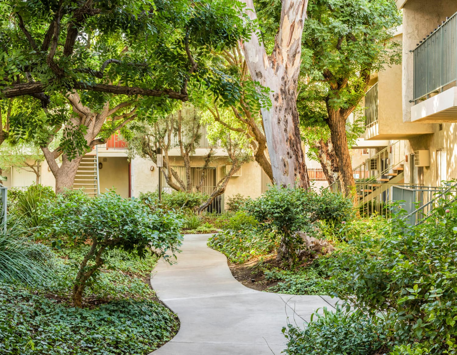 Gorgeously landscaped community at Village Pointe in Northridge, California