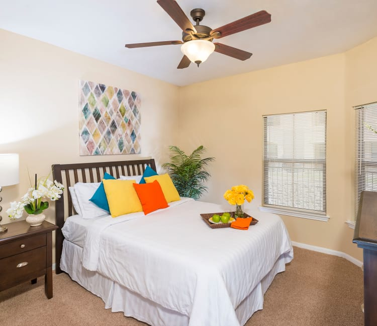 Model bedroom at Villas at Medical Center in San Antonio, Texas