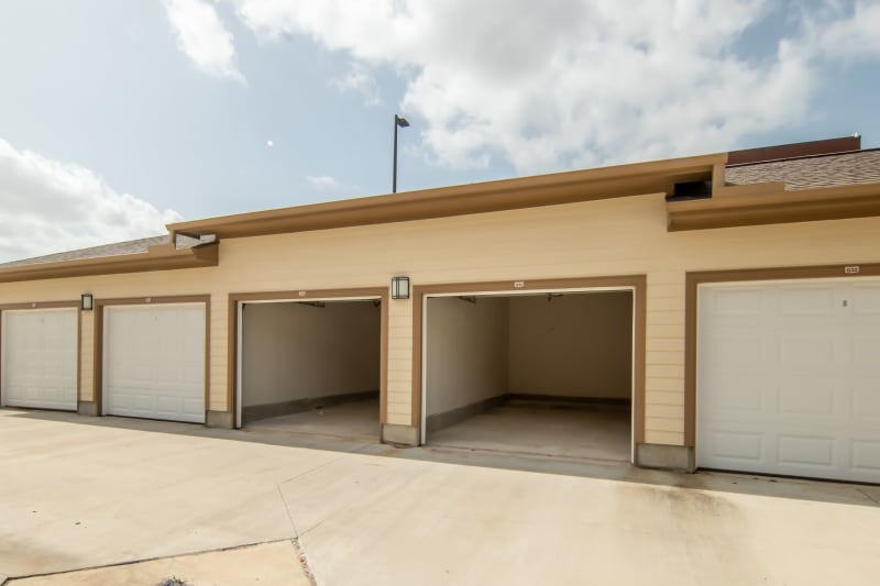 Full size garages available for rent at Haven at Liberty Hills in Houston, TX