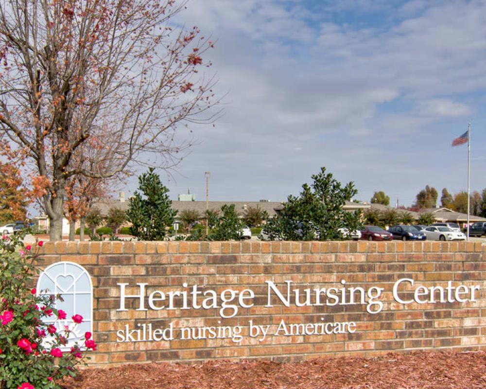 Main sign at Heritage Nursing Center in Kennett, Missouri