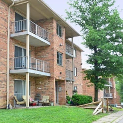 Exterior with private balconies at Lafeuille Apartments in Cincinnati, Ohio