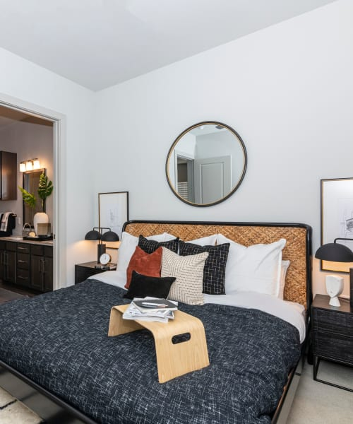 Bright, spacious bedroom at Magnolia on the Green in Allen, Texas