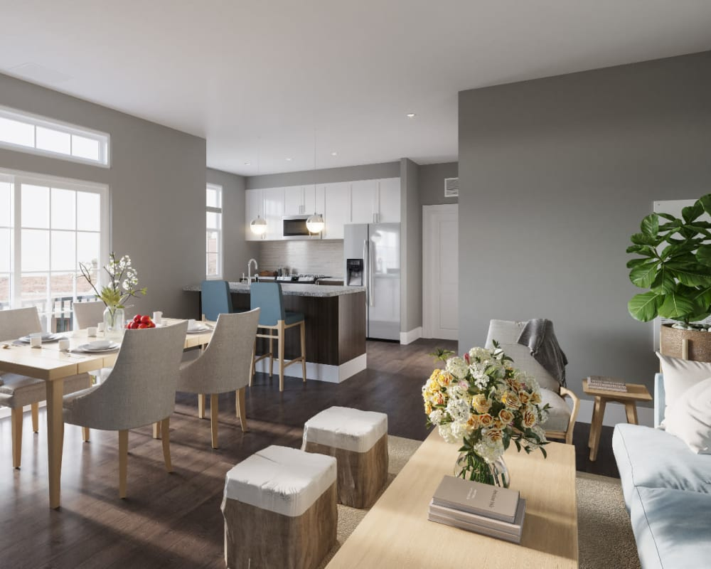 Open concept floor plans at The Cove at Gateway in East Lyme, Connecticut