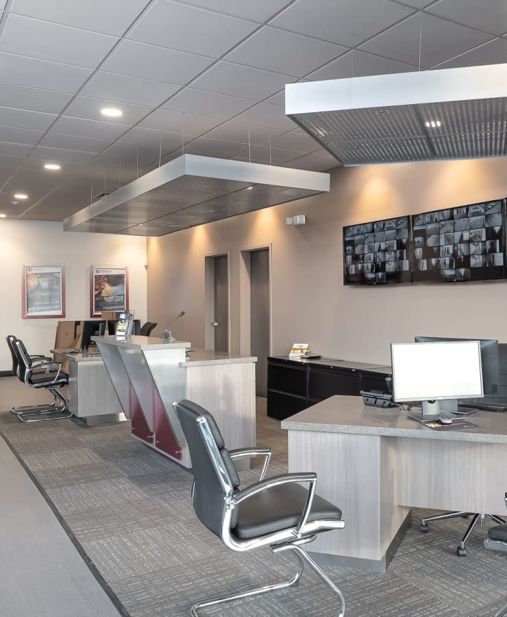 Interior of the leasing office at StorQuest Self Storage in Bothell, Washington