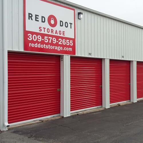 Exterior storage units at Red Dot Storage in Mossville, Illinois