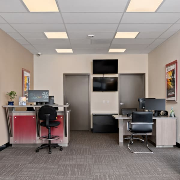 Interior of the leasing office at StorQuest Self Storage in Fresno, California