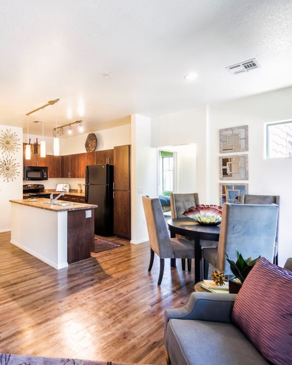 Spacious livng area and modern kitchen at Elevation Apartments in Flagstaff