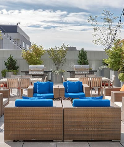 Rooftop patio and grilling area at Tower280 in Rochester, NY