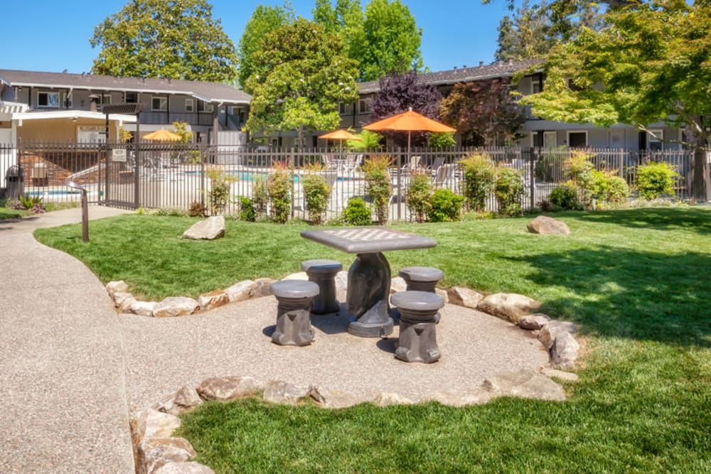 Well-kept lawn at Parkwood Apartments in Sunnyvale, California