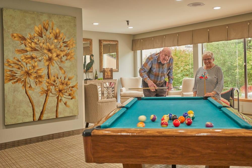 Florence, Oregon senior living with pool table