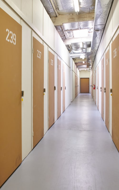 Interior storage units at I-5 Mini Storage in Wilsonville, Oregon