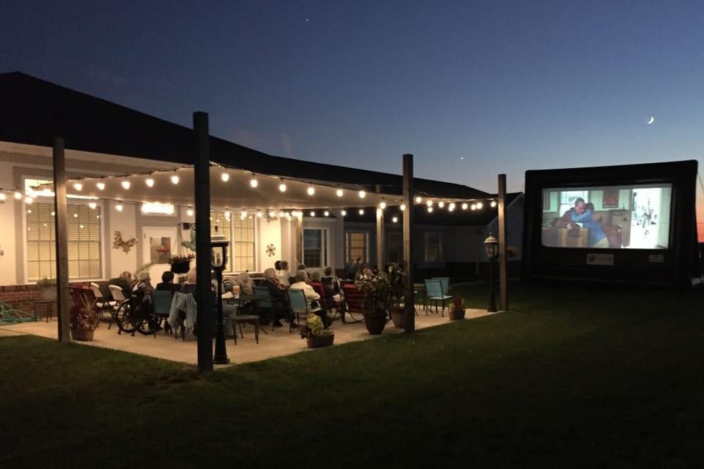 Outdoor movie night at Garden Place Waterloo in Waterloo, Illinois.