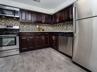 Renovated kitchens with modern finishes at Forge Gate Apartment Homes in Lansdale, PA