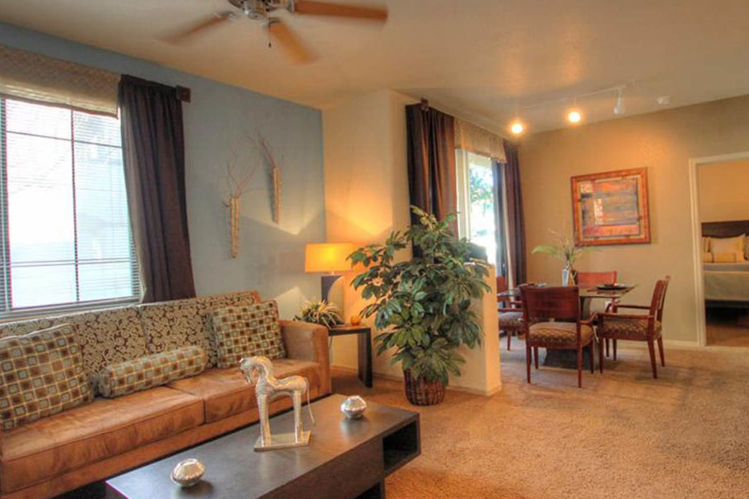 Dobson 2222 in Chandler, Arizona, offers open living room and dining room floor plans