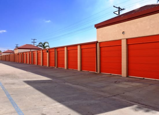 Outside storage units at A-1 Self Storage in Fullerton, California