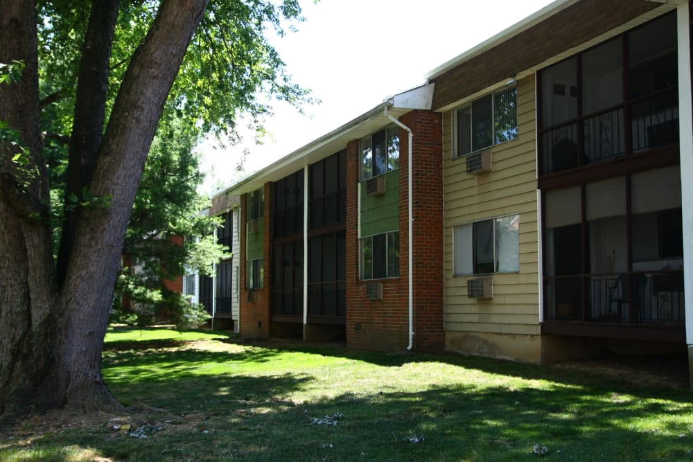 Exterior view of resident building at Park Apartments