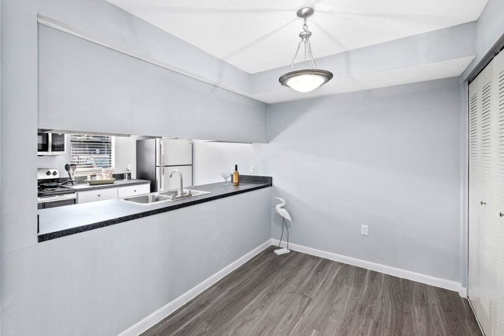 WestEnd At 76Ten model unit featuring kitchen island in Tampa, Florida