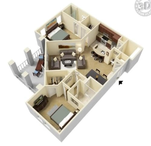Two bedroom floor plan at Integra Hills Apartment Homes in Ooltewah, Tennessee