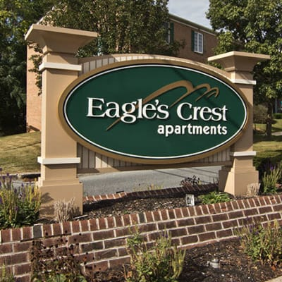 Eagle's Crest Apartments signage in Harrisburg, PA