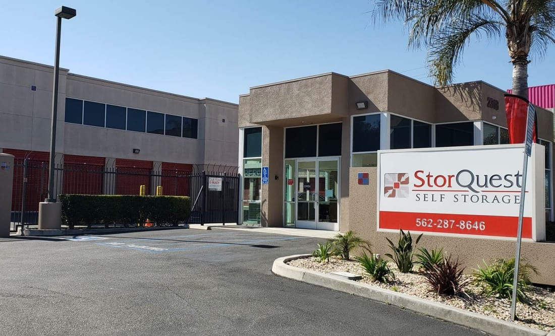 Store front at StorQuest Self Storage in Long Beach, CA
