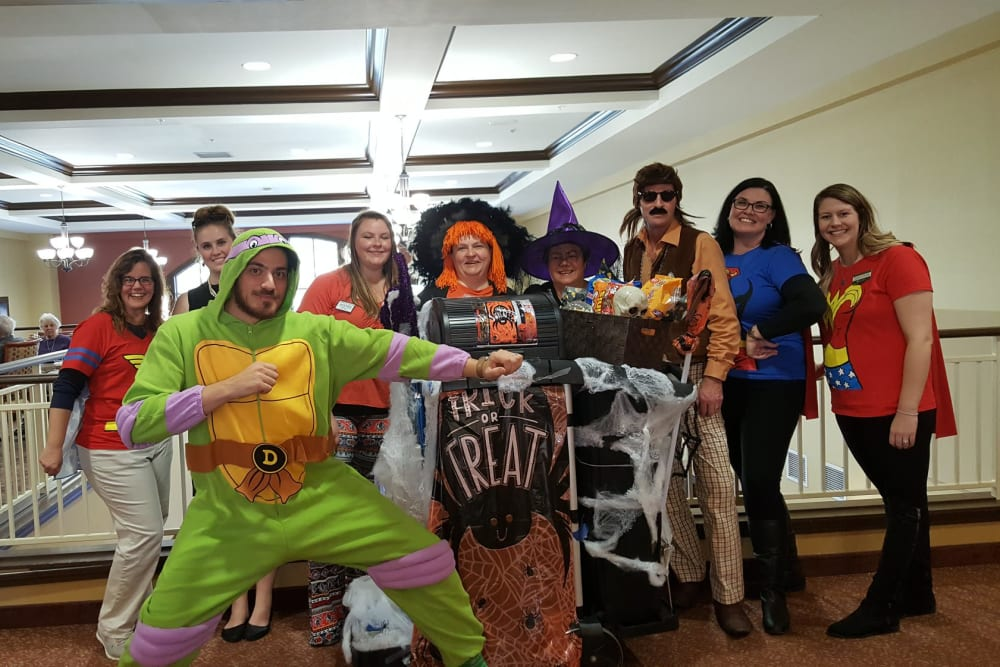 Staff dressed up for Halloween at The Reserve at East Longmeadow in East Longmeadow, Massachusetts