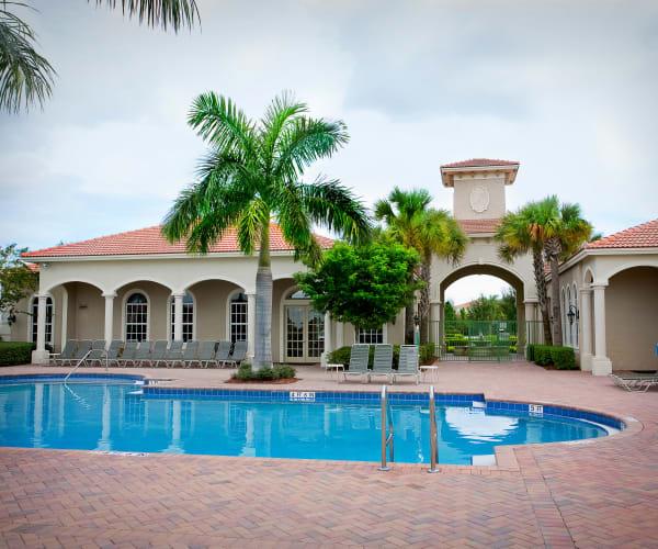 Beautiful blue outdoor pool at Green Cay Village in Boynton Beach, Florida