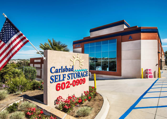 The sign at the front entrance of Carlsbad Self Storage in Carlsbad, California