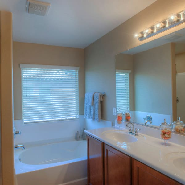 Large soaking tub at BB Living at Higley Park in Gilbert, Arizona