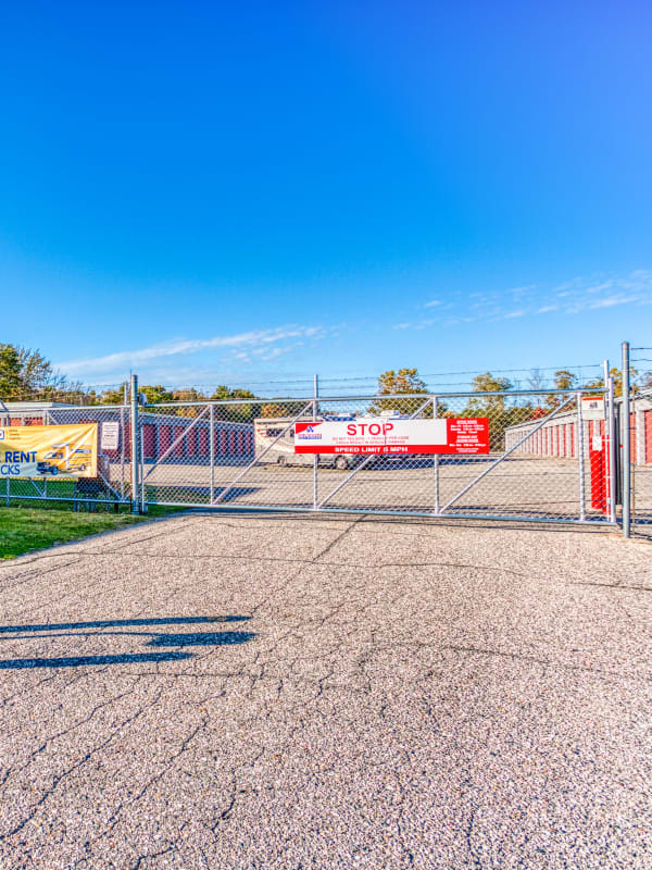 Gated entry into parking spaces at Devon Self Storage in Holland, Michigan