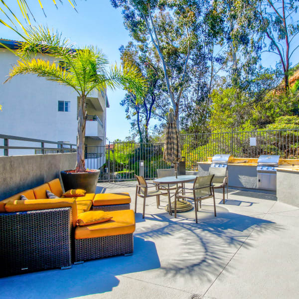 Modern outdoor lounge area at apartments in San Diego, California