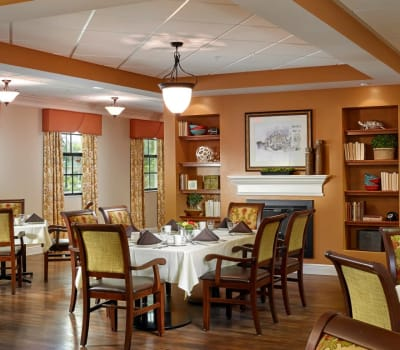 A dining room at The Springs At South Biscayne in North Port, Florida.