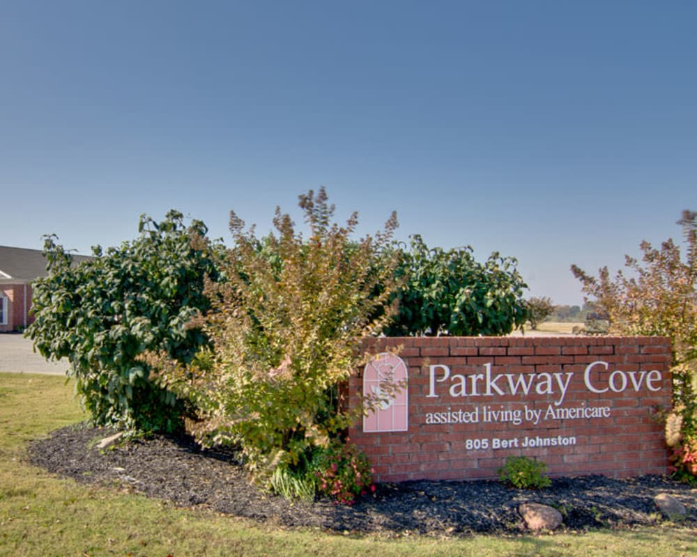 Main sign at Parkway Cove in Covington, Tennessee