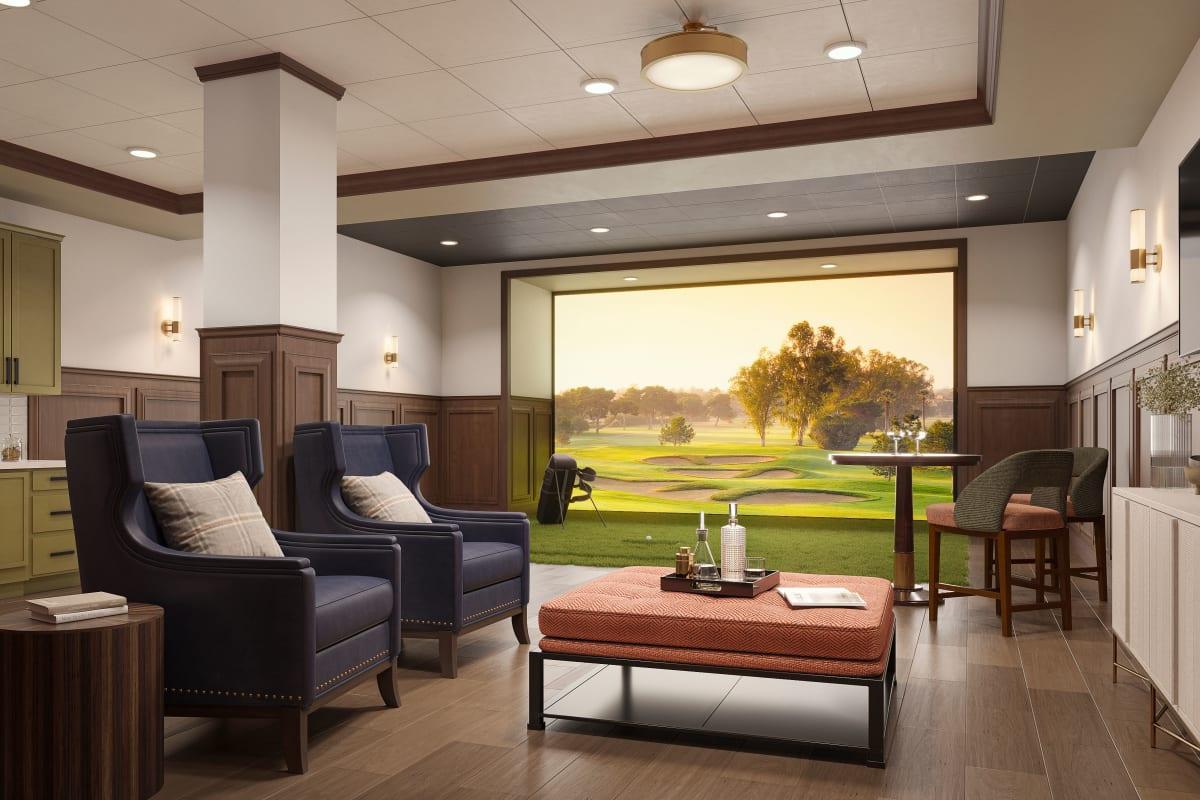 Golf simulator room at Amira Minnetonka in Minnetonka, Minnesota.