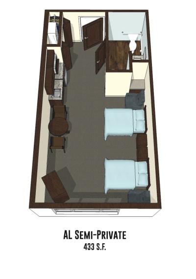 Assisted living & memory care semi-private room at Pickerington in Pickerington, Ohio.